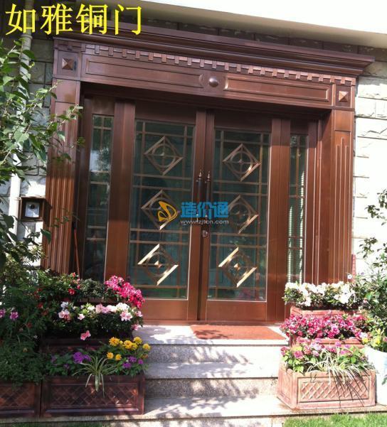酒店宾馆铜门商用玻璃铜门铜门楼酒店铜门图片
